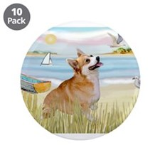 "Rowboat & Corgi (Pem) 3.5"" Button (10 pack)"