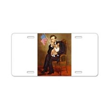 Lincoln & his Corgi (Pem) Aluminum License Pla