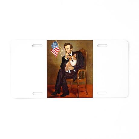 Lincoln & his Corgi (Pem) Aluminum License Pla