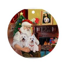 Santa/2 West Highland Ornament (Round)