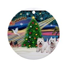 Xmas Magic & 2 Westies Ornament (Round)