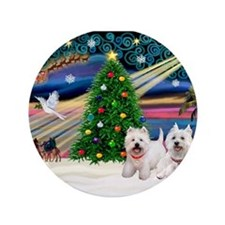 "Xmas Magic & 2 Westies 3.5"" Button"