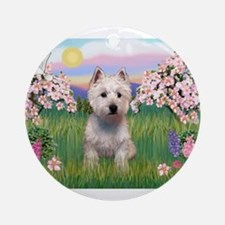 Blossoms & Westie Ornament (Round)