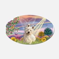 Cloud Angel/Westie #1 22x14 Oval Wall Peel