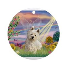 Cloud Angel/Westie #1 Ornament (Round)
