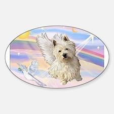 Westie Angel in Clouds Sticker (Oval)