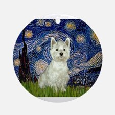Starry Night Westie Ornament (Round)