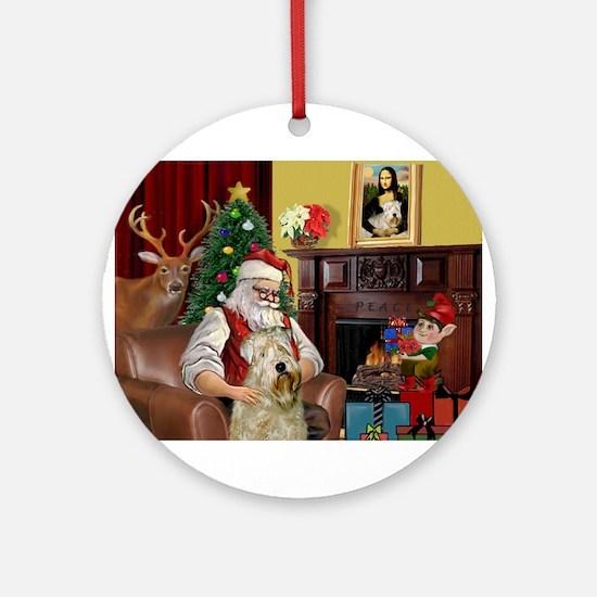 Santa's Wheaten (#7) Ornament (Round)