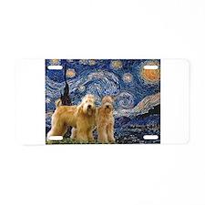Starry Night & 2 Wheatens Aluminum License Pla