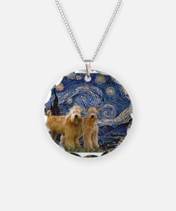Starry Night & 2 Wheatens Necklace