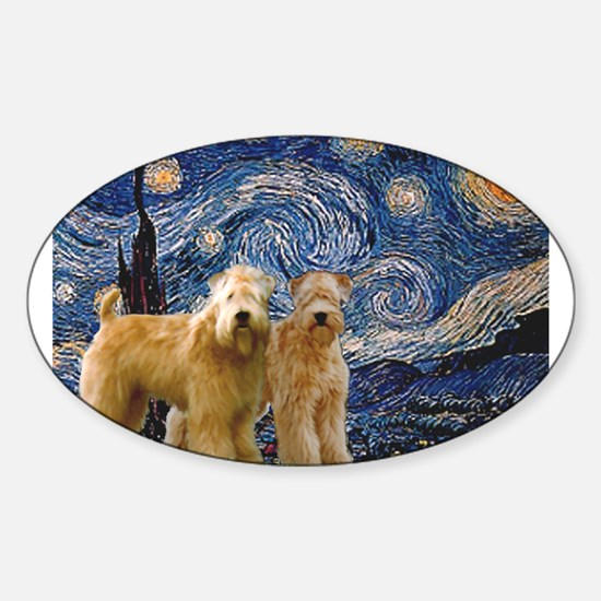 Starry Night & 2 Wheatens Sticker (Oval)