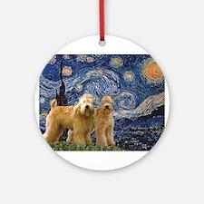 Starry Night & 2 Wheatens Ornament (Round)
