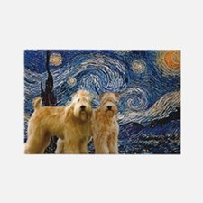 Starry Night & 2 Wheatens Rectangle Magnet (10