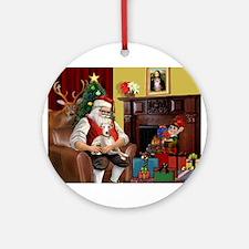 Santa's Whippet (#2) Ornament (Round)
