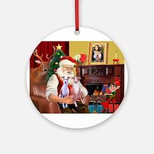 Santas Whippet pair Ornament (Round)
