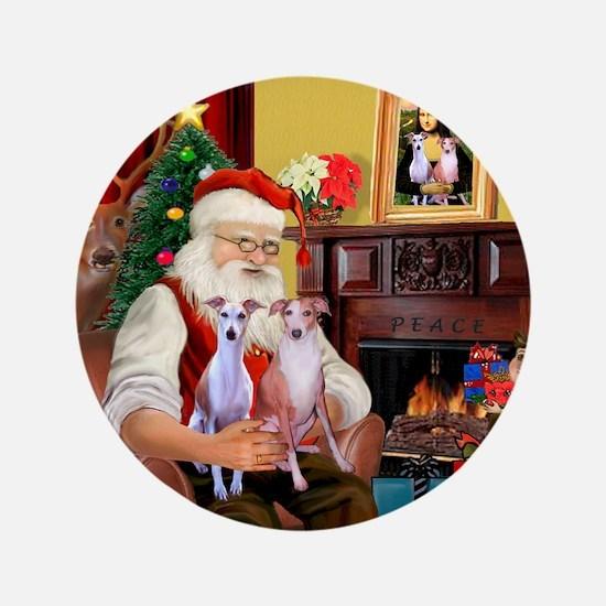 """Santas Whippet pair 3.5"""" Button"""
