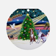 Xmas Magic/2 Whippets Ornament (Round)
