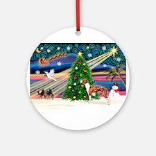 Xmas Magic / Whippet (#1) Ornament (Round)