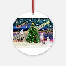 Xmas Magic/Whippet (#7) Ornament (Round)