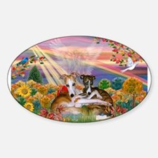 Autumn Angel / Whippet Sticker (Oval)