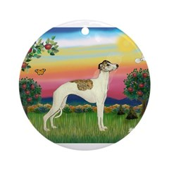 Bright Country / Whippet Ornament (Round)