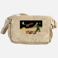 Night Flight/5 Yorkies Messenger Bag