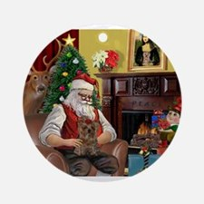 Santa's Yorkie (#11) Ornament (Round)