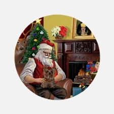 "Santa's Yorkie (#11) 3.5"" Button"