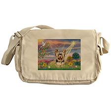 Cloud Angel & Yorkie Messenger Bag