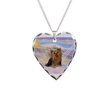 Clouds/Yorkie Angel #7 Necklace Heart Charm
