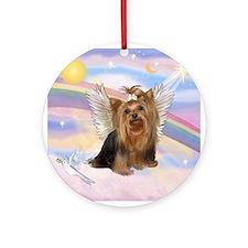 Clouds/Yorkie Angel #7 Ornament (Round)