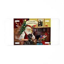 Santa's black Lab (TH) Aluminum License Plate