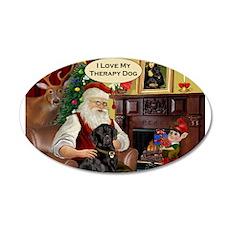 Santa's black Lab (TH) 22x14 Oval Wall Peel