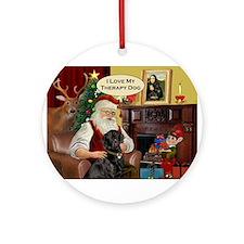 Santa's black Lab (TH) Ornament (Round)
