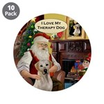 "Santa's Yellow Lab (TH) 3.5"" Button (10 pack)"