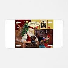 Santa's Chocolate Lab (TH) Aluminum License Plate