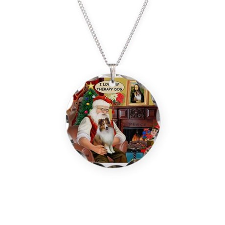 Santa/Sheltie Therapy Necklace Circle Charm