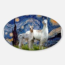 Starry Night Llama Duo Sticker (Oval)
