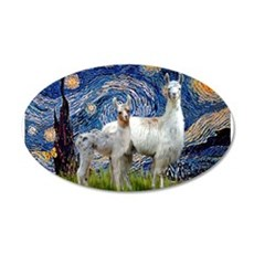 Starry Night Llama Duo 22x14 Oval Wall Peel