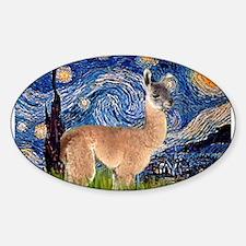 Starry Night Llama Sticker (Oval)