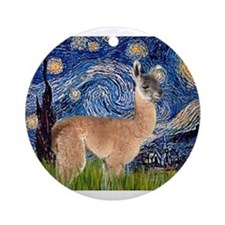 Starry Night Llama Ornament (Round)