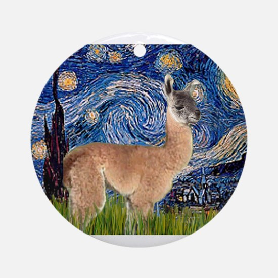 Starry Night Llama Ornament (Round)