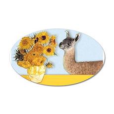 Sunflowers & Llama 22x14 Oval Wall Peel
