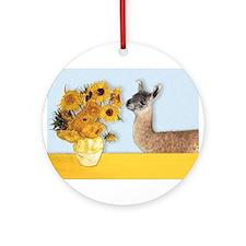Sunflowers & Llama Ornament (Round)