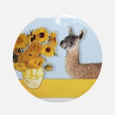 Sunflowers & Llama Ornament (Round)