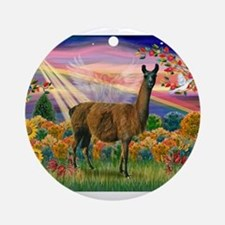 Autumn Angel & Llama Ornament (Round)