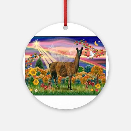 Autumn Angel & Llama Ornament (Round)