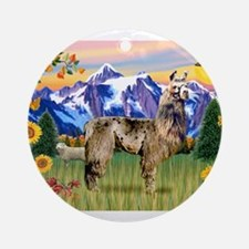 Llama in the Country Ornament (Round)