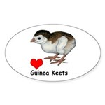 Love Guinea Keets Sticker (Oval 50 pk)