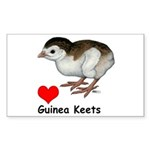 Love Guinea Keets Sticker (Rectangle)
